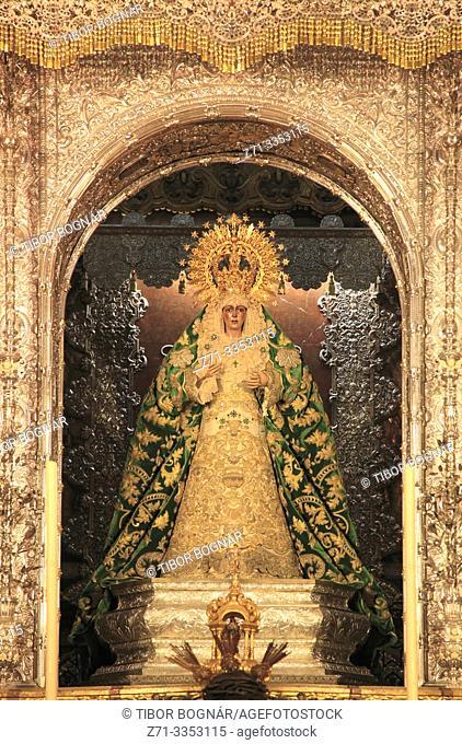 Spain; Andalusia; Seville; Basilica de la Macarena, interior, Macarena statue,