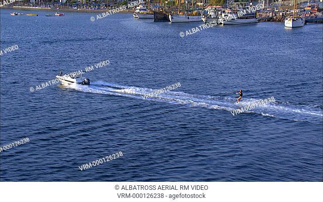 Aerial footage of Water Ski at gulf of Eilat, Israel