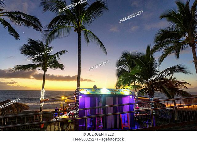 Beach bar Love on the Beach at sunset, Puerto Naos, La Palma, Canary Islands, Spain