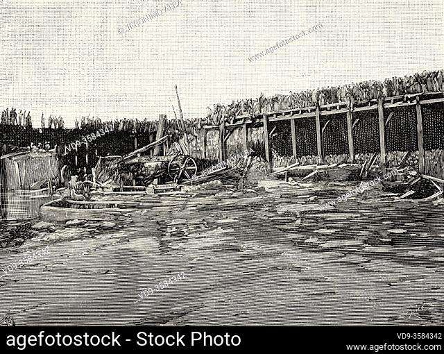 Remains of wood cargo after blasting. Second explosion of the Cabo Machichaco steamship in the port of Santander, March 21, 1894, Cantabria. Spain