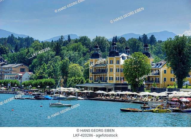 Velden Castle with Woerther lake, Velden, Carinthia, Austria