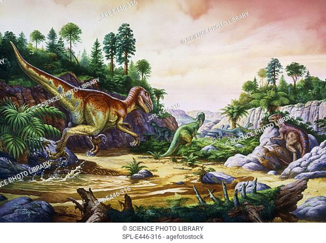 Dromaeosaurs and Rhabdodons. Artwork of two Dromaeosaur dinosaurs chasing a herd of Rhabdodons. Dromaeosaur dinosaurs were carnivores