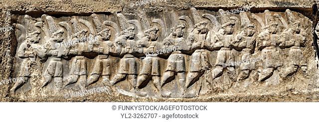 Sculpture of the twelve gods of the underworld from the 13th century BC Hittite religious rock carvings of Yazılıkaya Hittite rock sanctuary, chamber B