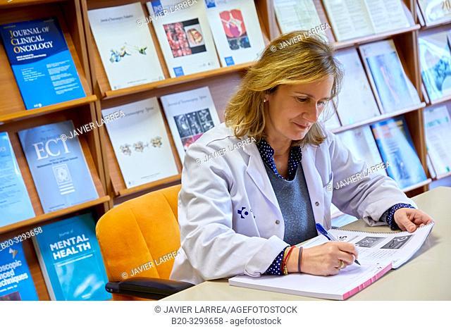 Doctor in the Library, Hospital Donostia, San Sebastian, Gipuzkoa, Basque Country, Spain