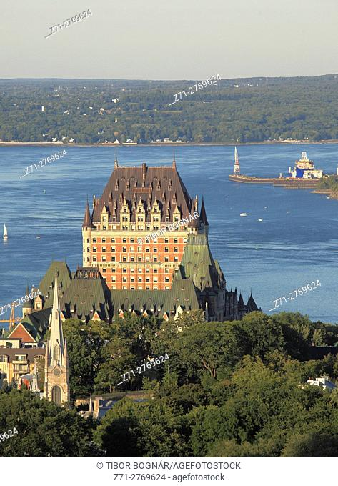 Canada, Quebec City, skyline, St Lawrence River, aerial view, Chateau Frontenac,