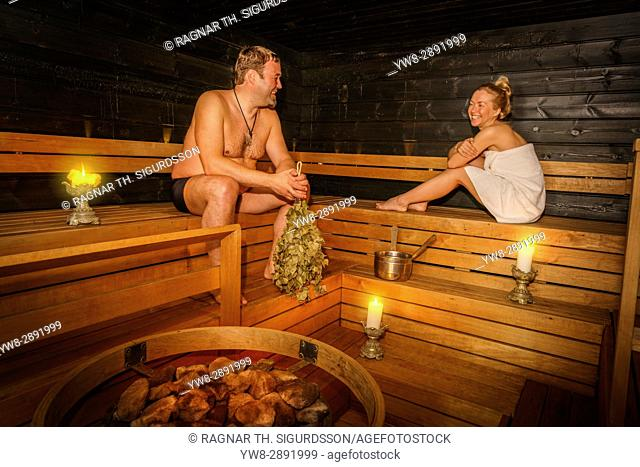 Couple in a Sauna, Lapland, Finland