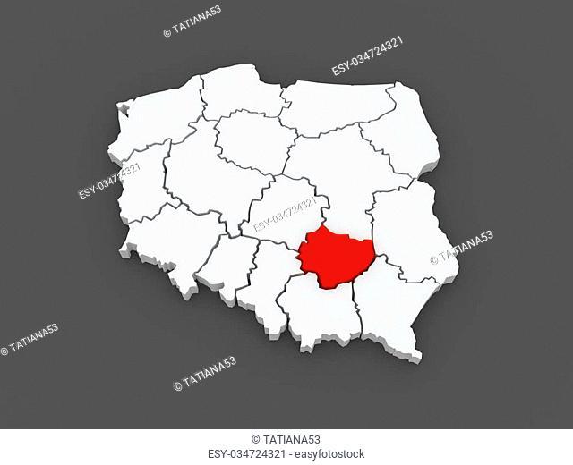 Map of Swietokrzyskie. Poland. 3d