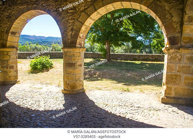 Arcade of the Romanesque church. San Salvador de Cantamuda, Palencia province, Castilla Leon, Spain