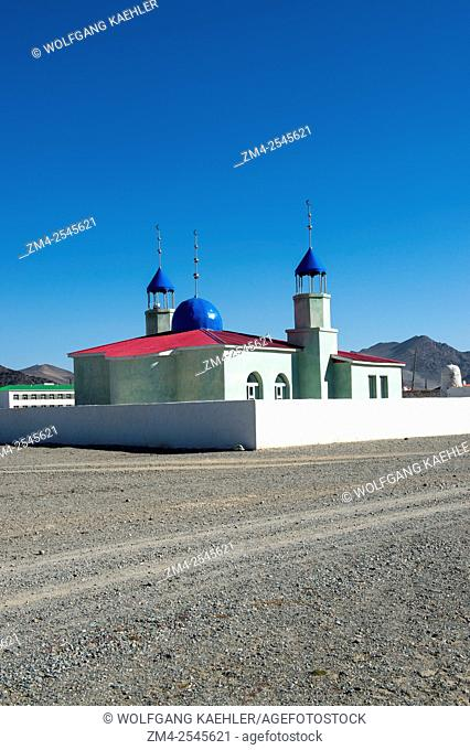 A mosque at the outskirts of the city of Ulgii (Ölgii) in the Bayan-Ulgii Province in western Mongolia