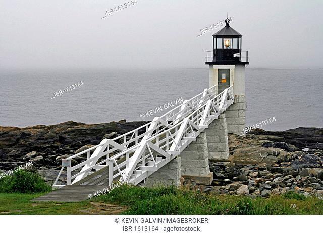 Marshall Point Lighthouse, Port Clyde, fishing village, Atlantic Ocean, Maine coast, New England, USA
