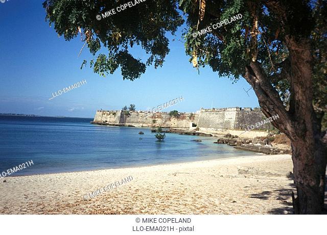 Scenic View of Fort Sao Sebastao Across Water  Ilha da Moçambique, Mozambique