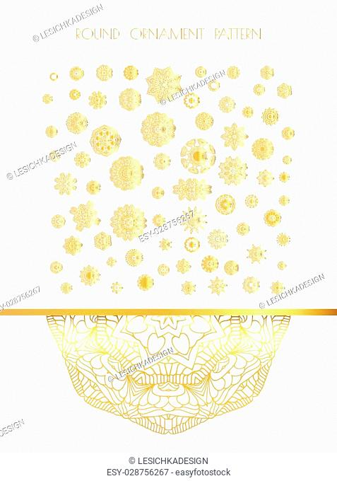 Traditional golden decor on white background. Abstract golden ornament. Vector illustration
