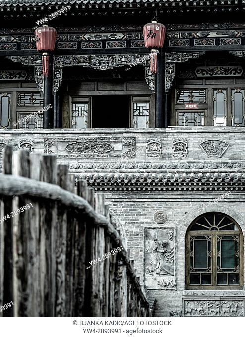Richly carved facade of Ma Zhong Xuan residence, Pingyao, Shanxi province, China