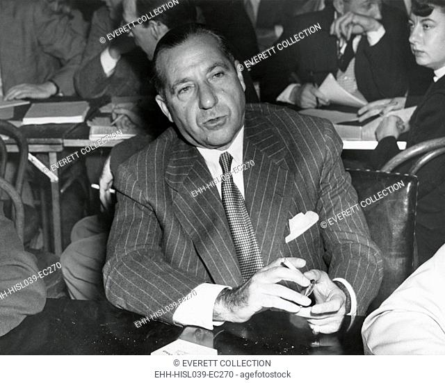 Frank Costello testifying before a Senate Interstate and Foreign Commerce subcommittee investigating gambling. April 27, 1950