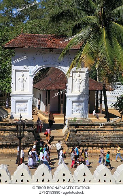 Sri Lanka; Kandy; Natha Devale Shrine, gate, people,
