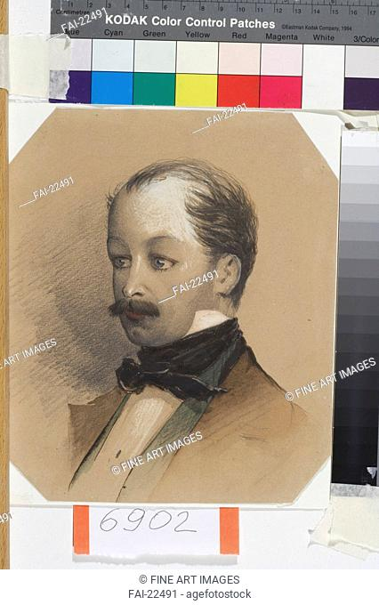 Portrait of the painter Pavel Andreyevich Fedotov (1815-1852). Baideman, Alexander Yegorovich (1826-1869). Watercolour and white colour on paper