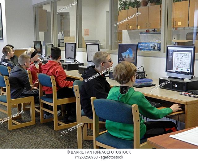 6th Graders Working at Computers During Activity Time, Wellsville, New York, USA