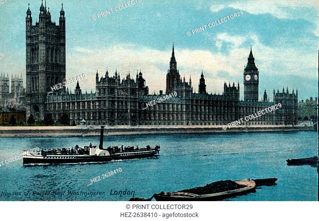 'Houses of Westminster, London', 1907, (c1900-1930). Artist: Unknown