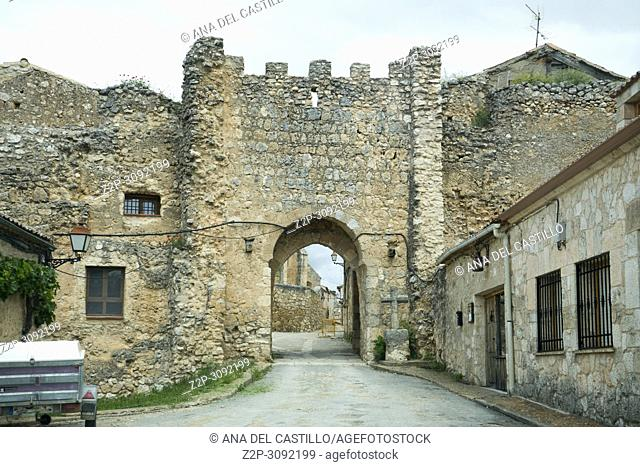 Walls in Maderuelo is an ancient village in Segovia province Castile Leon Spain. One of the most beautiful villages in Spain