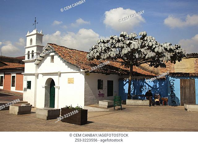 View to the Ermita De San Miguel Del Principe Church in Plaza Del Chorro De Quevedo at the historic center, Bogota, Cundinamarca, Colombia, South America