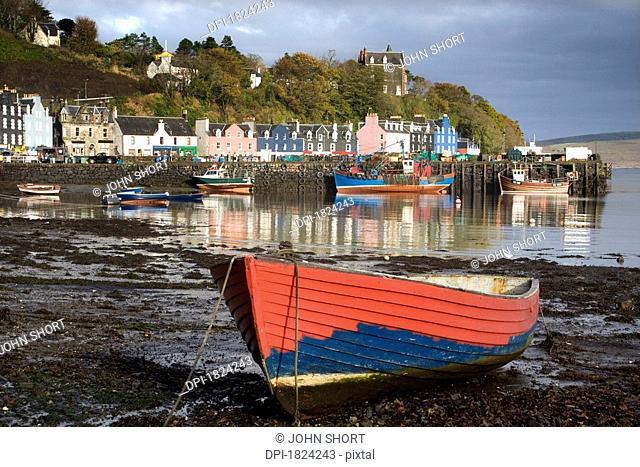 Boat on shore in Tobermory, Isle of Mull, Scotland