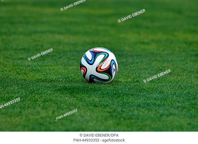 """The new World Cup ball Brazuca from Adidas during an FCBayern Munich training session at the stadium""""""""Stade Adrar"""""""" in Agadir, Morocco, 20December 2013"""