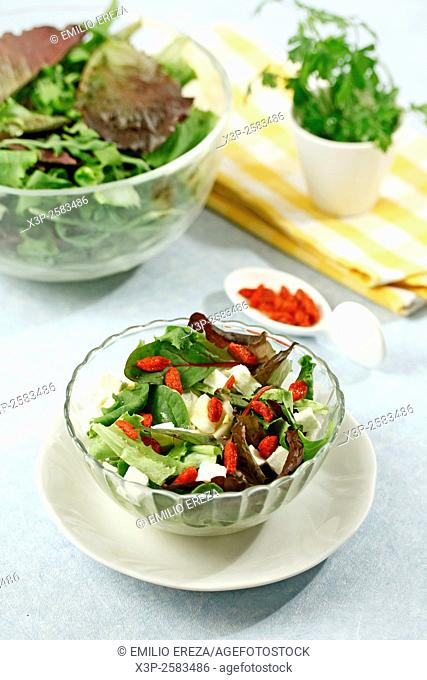 Fresh salad with cheese and berries
