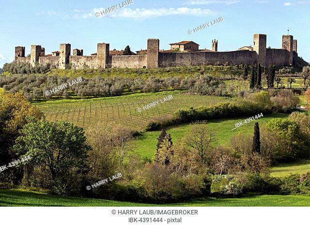 City wall with fortified towers, Monteriggioni, Tuscany, Italy