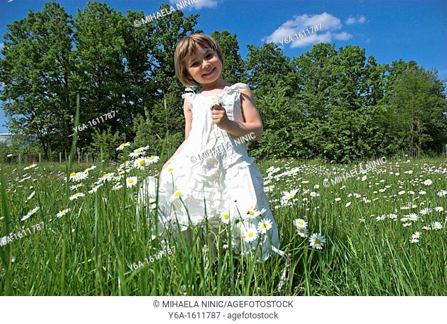 Little girl wearing white dress standing in field holding daisies smiling portrait