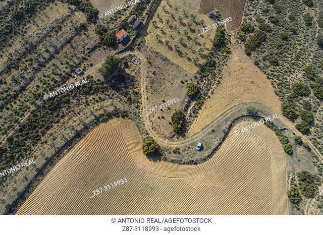 Land plots viewed from a dron. Almansa. Albacete. Spain