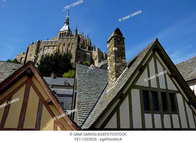 Typical house in the old city surrounding Mont Saint-Michel, a fortified medieval monastery on an island in Normandy, France