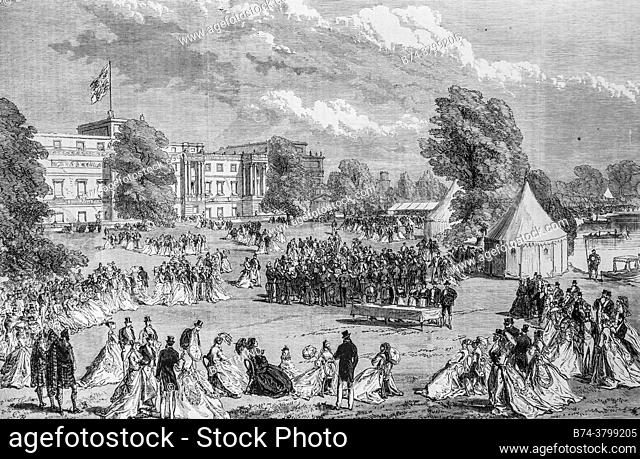 a reception in the gardens of buckingham palace the illustrious universe, publisher michel levy 1868