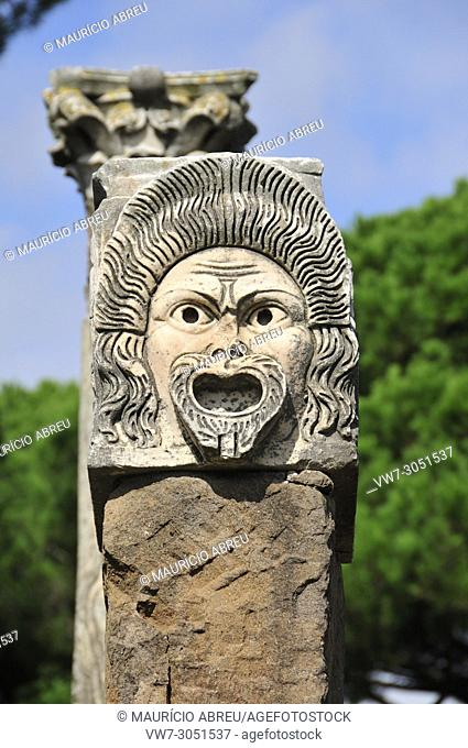 Mask of the theatre of the roman city of Ostia Antica. At the mouth of the River Tiber, Ostia was Rome's seaport two thousand years ago. Italy