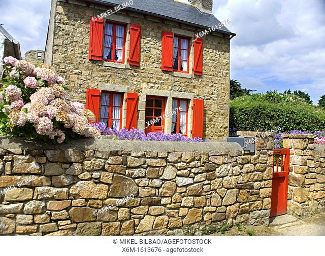 Stone house  Brehat island, Côtes-d'Armor, in northern Brittany, France