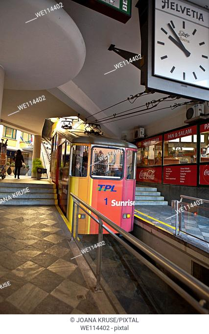 Funicular in Lugano, Ticino, Switzerland, which connects the elevated train to downtown