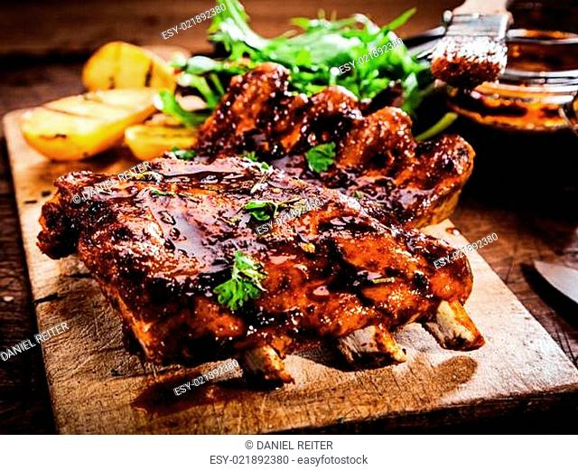 Delicious barbecued ribs