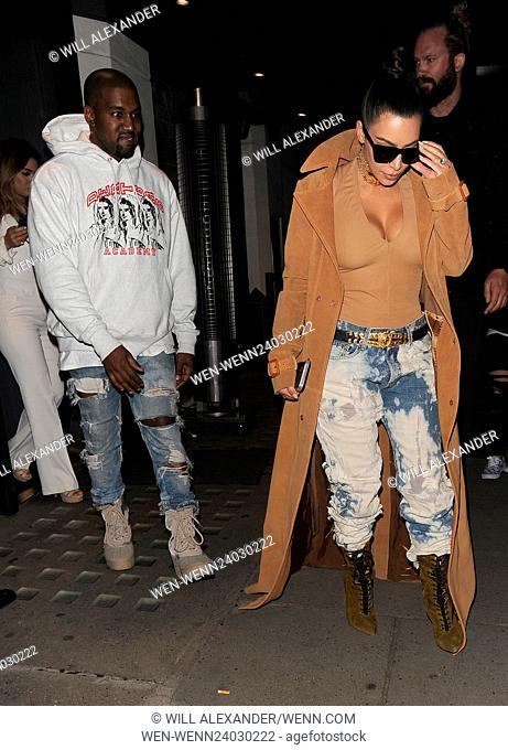 Kim Kardashian and her husband Kanye West leaving Hakkasan restaurant, and heading back to their hotel Featuring: Kim Kardashian, Kanye West Where: London