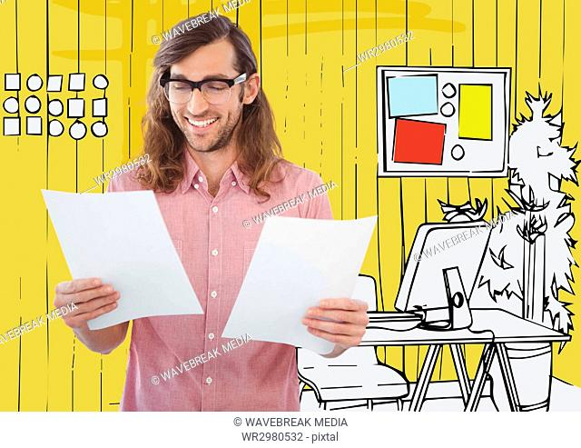 Millennial man with papers against 3D yellow hand drawn office