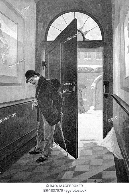 Secret glace at the pocket watch, historical illustration circa 1893