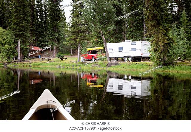 Canada, British Columbia, Chilcotin region, Nimpo Lake, RV camping, vacation, holiday, canoe, campsite