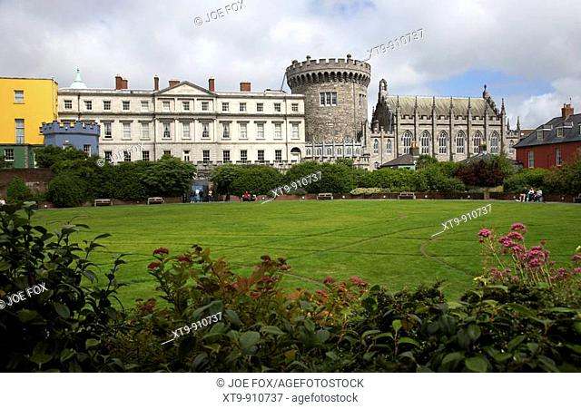 the dubhlinn gardens looking towards the norman record tower state apartments and chapel royal of dublin castle dublin republic of ireland