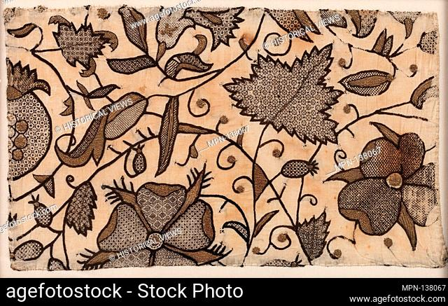 Fragment of Blackwork. Date: ca. 1590; Culture: British; Medium: Silk and gilt-metal-wrapped thread on woven plain weave linen foundation; Dimensions: Overall:...