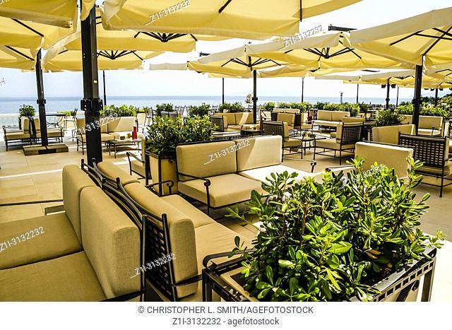 Giant patio umbrellas at the Hotel Kvarer in Opatija on the Adriatic Croatian Riviera