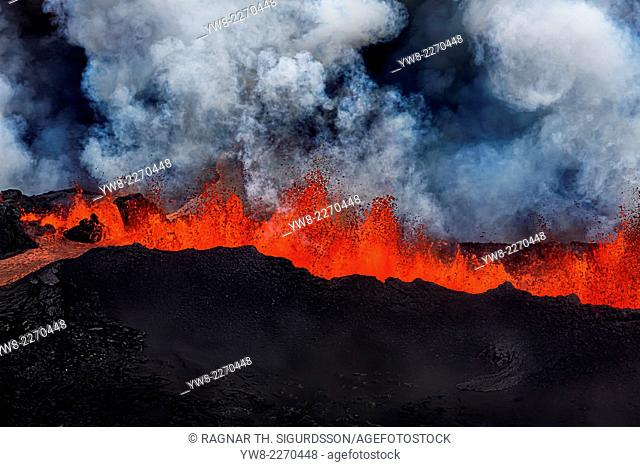 Lava fountains at Holuhraun Fissure eruption near Bardarbunga Volcano, Iceland. Picture Date- Sept. 2, 2014. On August 29, 2014