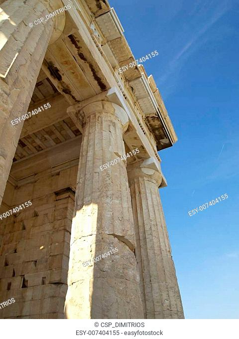 Detail of the Propylaea ,Acropolis, Athens Greece, some space for type