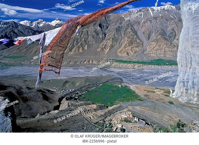 Prayer flags, view across the Spiti Valley, Buddhist Ki or Key Monastery or Gompa, Lahaul and Spiti district, Himachal Pradesh, Indian Himalayas, North India