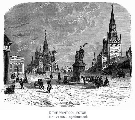 Krusnaya Place, Moscow, c1890. View of Red Square with the Kremlin on the right and St Basil's Cathedral in the distance