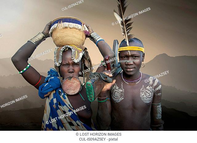 A young couple of the Mursi Tribe, Omo Valley, Ethiopia