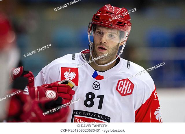 Hockey player TOMAS VINCOUR of Mountfield Hradec Kralove in action during the Ice hockey Champions League matches group F Mountfield Hradec Kralove vs