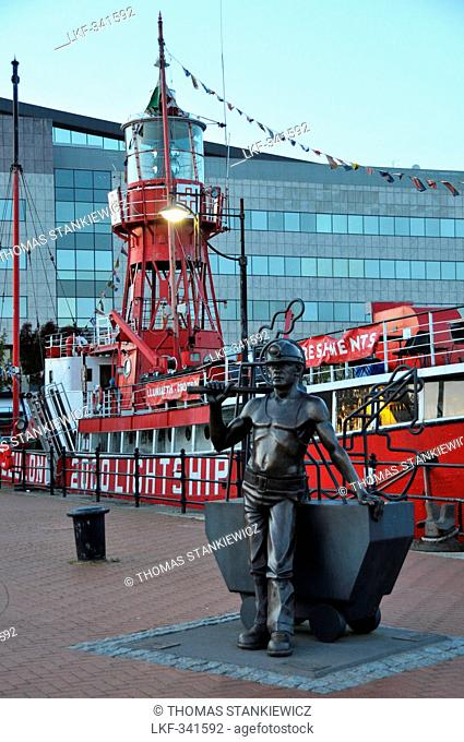 Sculpture at the lightship in Cardiff Bay, south-Wales, Wales, Great Britain